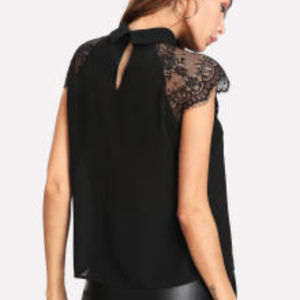 aa8e528f655a4 SHEIN Tops - Floral Lace Black Cap Sleeve Blouse